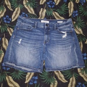 Distressed Premium Denim Roll-up Short, Banana Rep